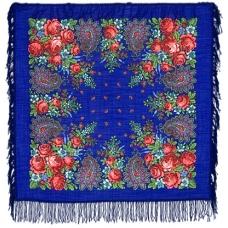 Цветочная синева 89 x 89 см Павлопосадский платок