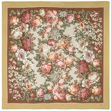 Чайные розы 89 x 89 см Павлопосадский платок