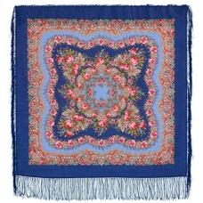 Романтика (синий) 89 x 89 см Павлопосадский платок
