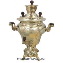 """Самовар на дровах (угольный) 2,5 л форма """"груша"""" латунь"""