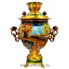 Cамовар расписной 3 л Золотая осень арт.2303