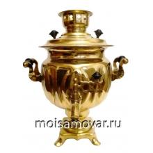 """Самовар на дровах (угольный) 3 л форма """"Овал"""" латунь"""
