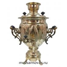 """Самовар на дровах (угольный) 3 л форма """"желудь"""" латунь"""