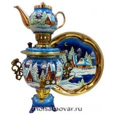 Набор самовар расписной 3 л Зимняя деревня арт.1230