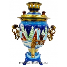 Cамовар расписной 3 л Зимняя романтика Артикул 1129-2