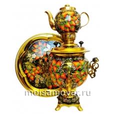 Набор самовар расписной 3 л Клубника с цветами арт.1250